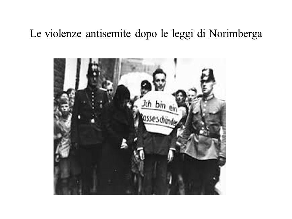 Le violenze antisemite dopo le leggi di Norimberga