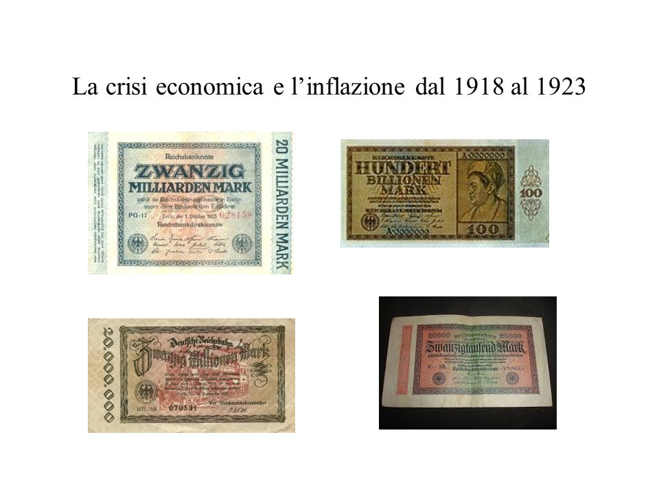 La crisi economica e l'inflazione dal 1918 al 1923