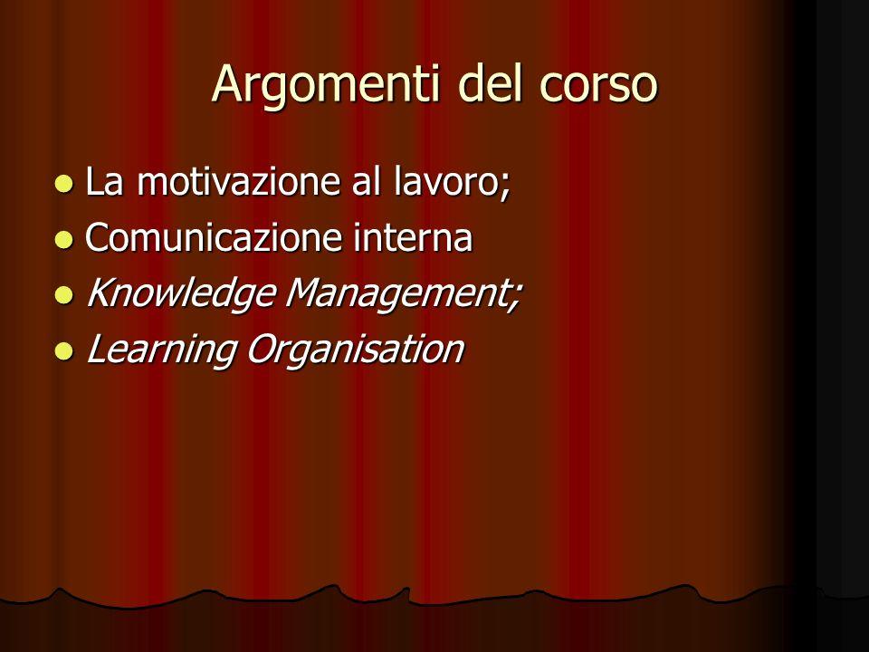 Argomenti del corso La motivazione al lavoro; Comunicazione interna