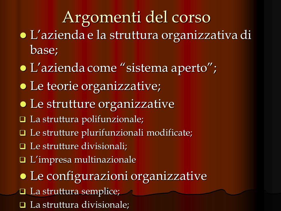 Argomenti del corso L'azienda e la struttura organizzativa di base;