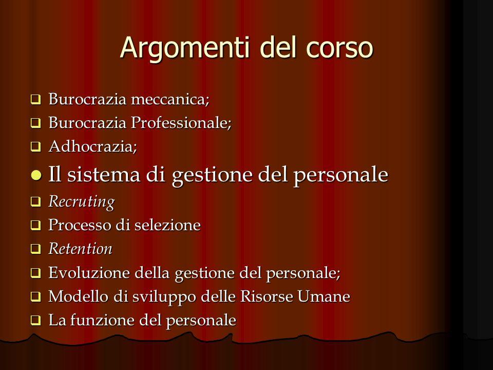 Argomenti del corso Il sistema di gestione del personale