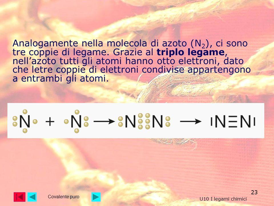 Analogamente nella molecola di azoto (N2), ci sono tre coppie di legame. Grazie al triplo legame, nell'azoto tutti gli atomi hanno otto elettroni, dato che letre coppie di elettroni condivise appartengono a entrambi gli atomi.