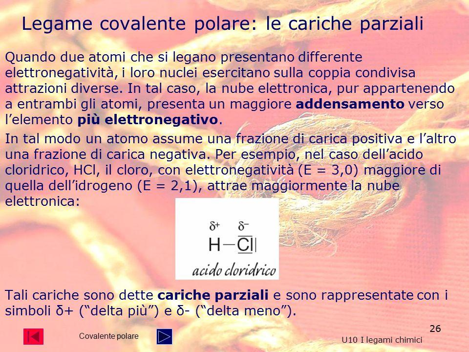 Legame covalente polare: le cariche parziali