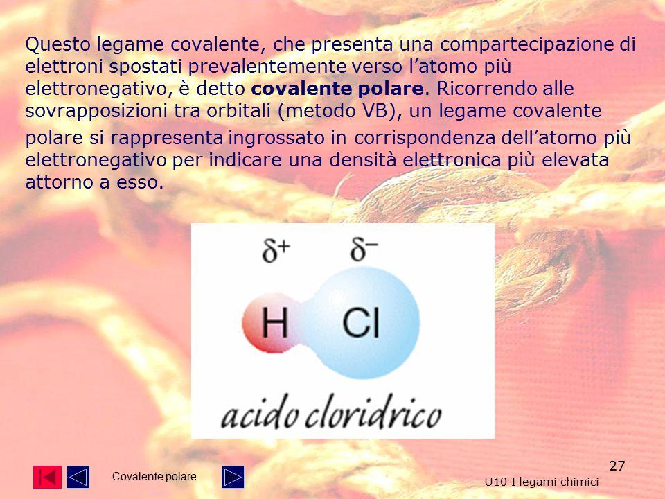 Questo legame covalente, che presenta una compartecipazione di elettroni spostati prevalentemente verso l'atomo più elettronegativo, è detto covalente polare. Ricorrendo alle sovrapposizioni tra orbitali (metodo VB), un legame covalente