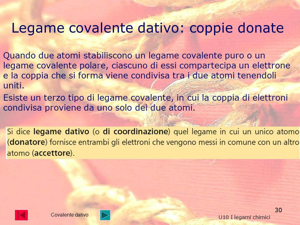 Legame covalente dativo: coppie donate