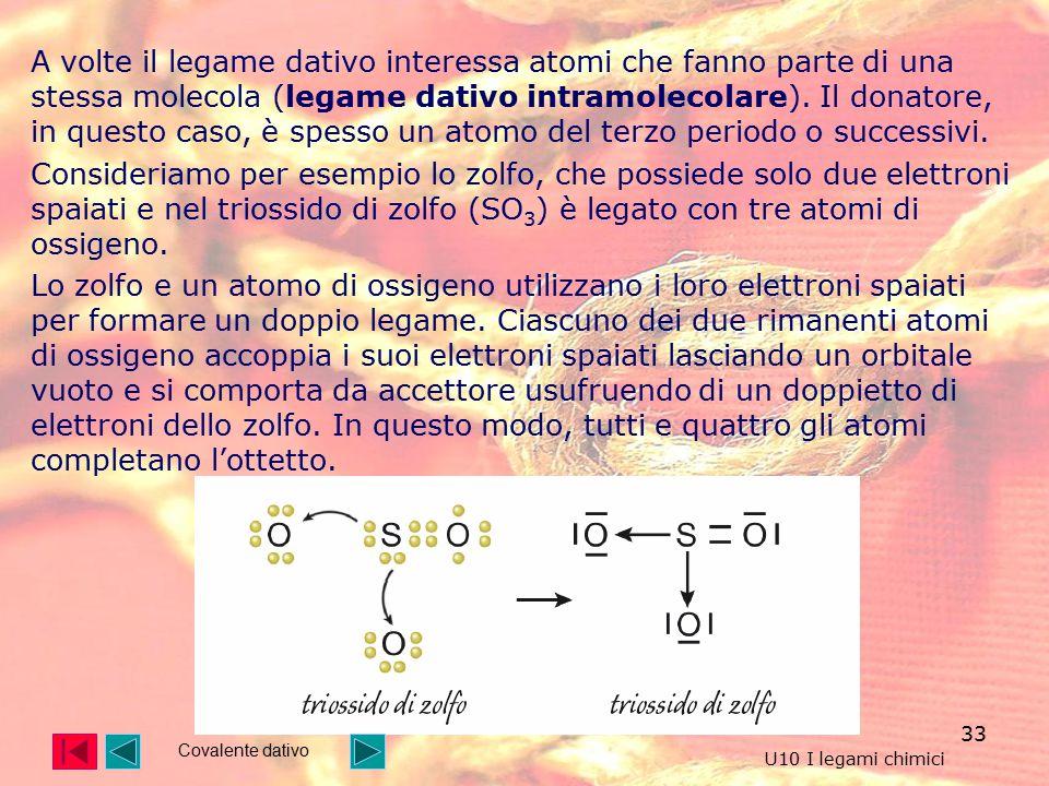 A volte il legame dativo interessa atomi che fanno parte di una stessa molecola (legame dativo intramolecolare). Il donatore, in questo caso, è spesso un atomo del terzo periodo o successivi.