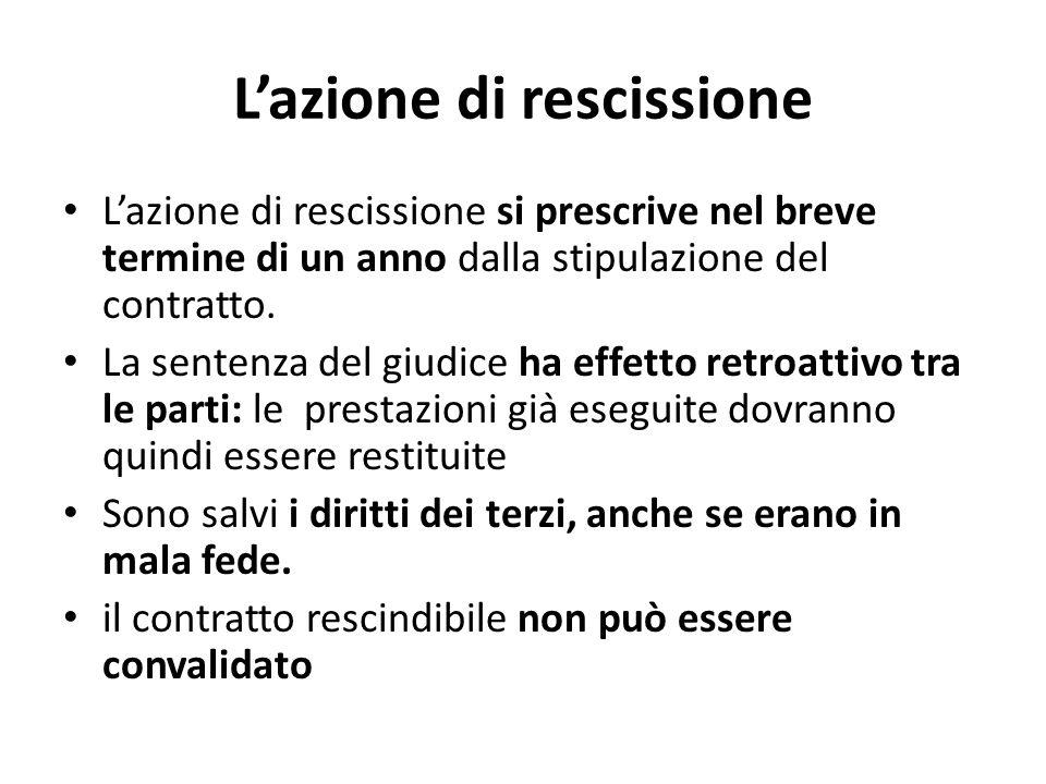L'azione di rescissione