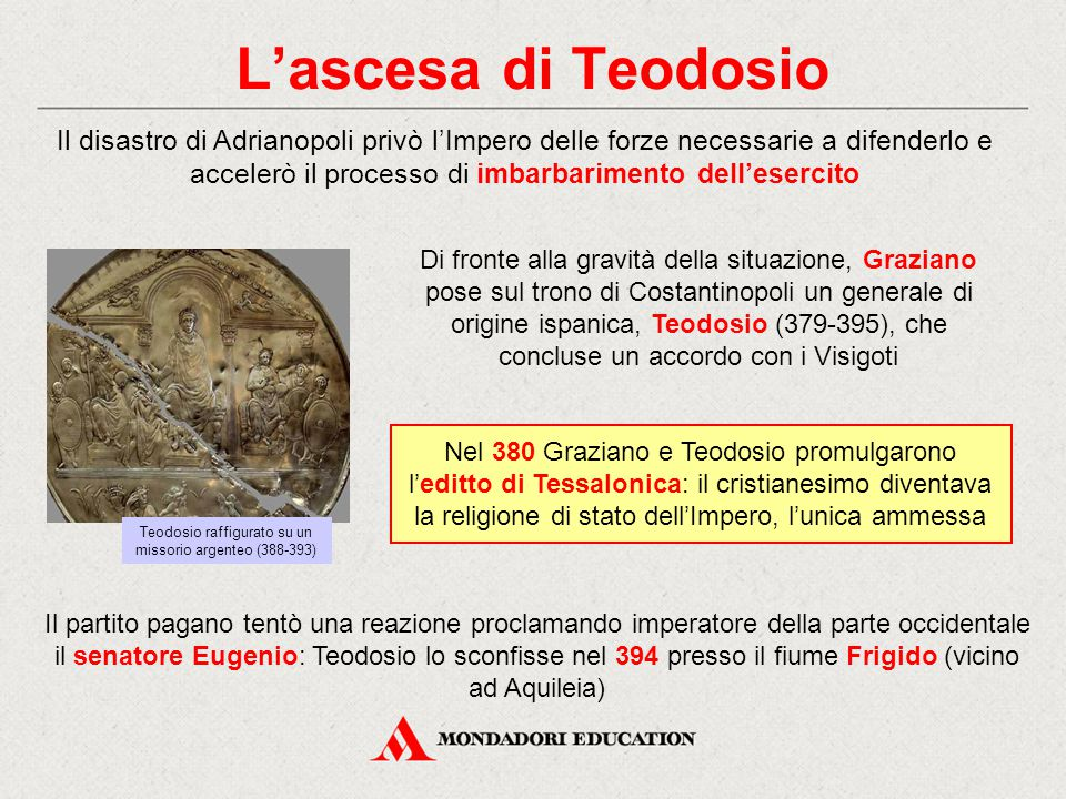 Teodosio raffigurato su un missorio argenteo (388-393)