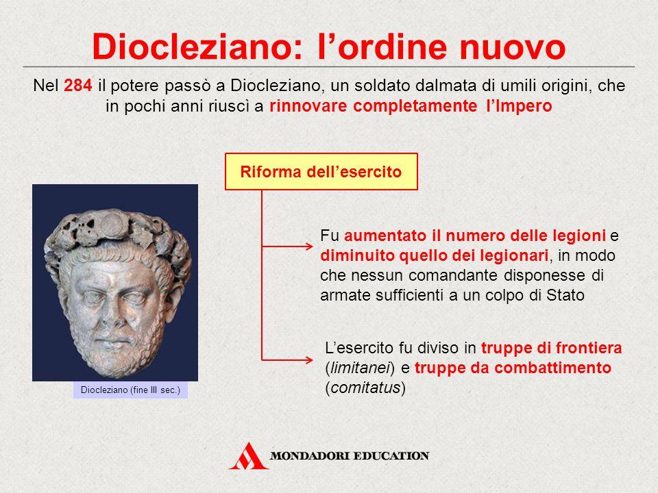 Diocleziano: l'ordine nuovo Riforma dell'esercito