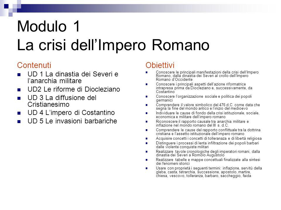 Modulo 1 La crisi dell'Impero Romano