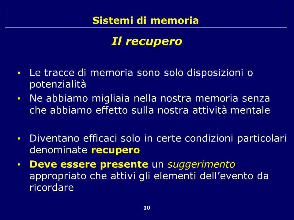 Il recupero Le tracce di memoria sono solo disposizioni o potenzialità