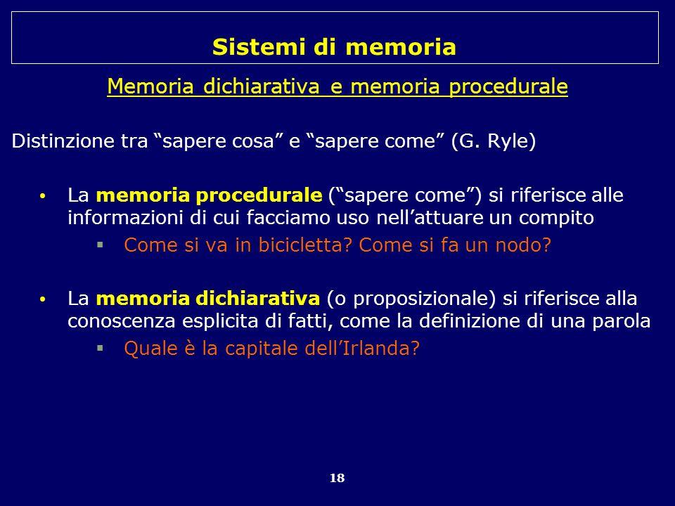 Memoria dichiarativa e memoria procedurale