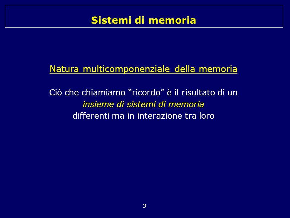 Natura multicomponenziale della memoria