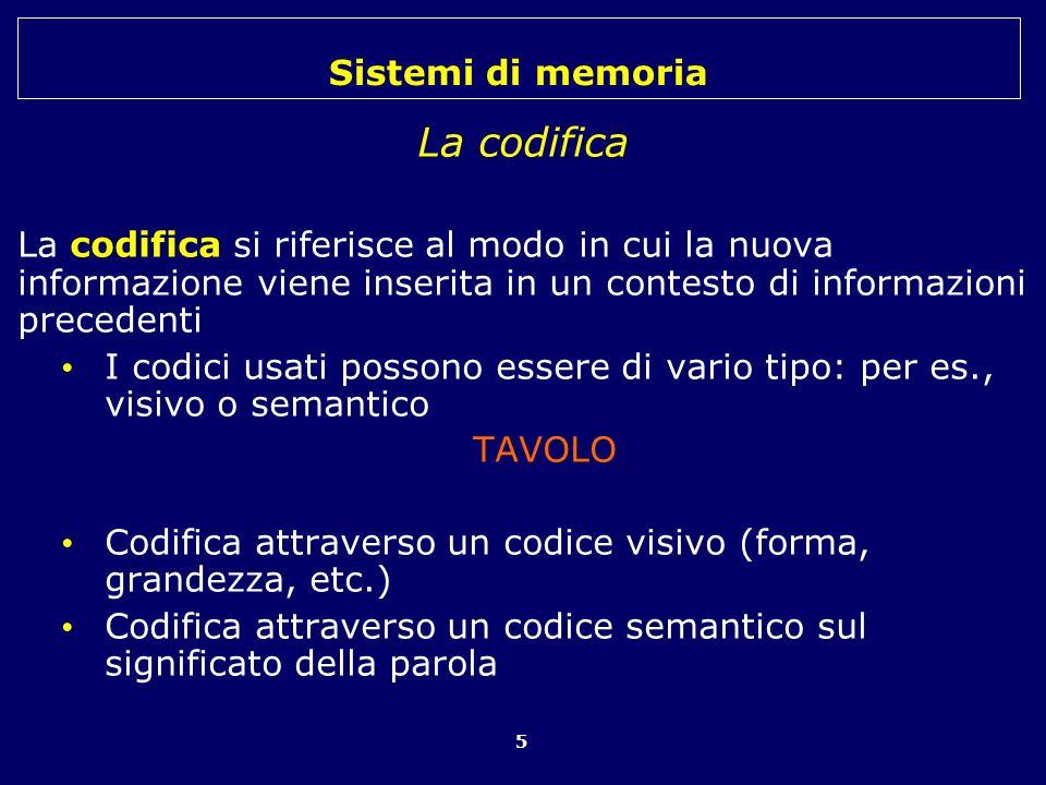 La codifica La codifica si riferisce al modo in cui la nuova informazione viene inserita in un contesto di informazioni precedenti.