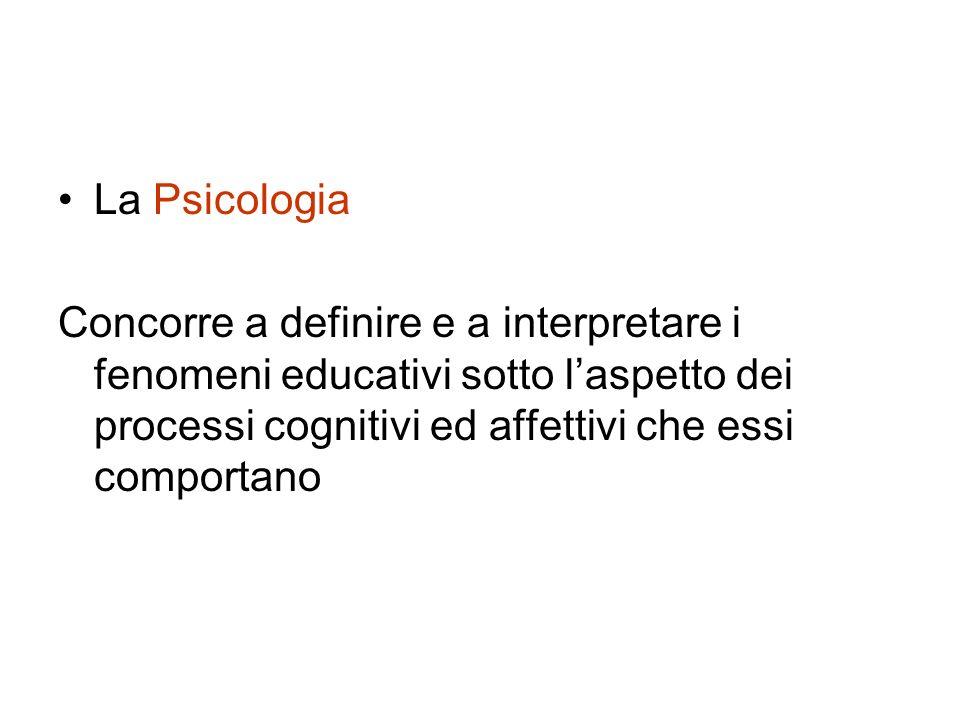 La Psicologia Concorre a definire e a interpretare i fenomeni educativi sotto l'aspetto dei processi cognitivi ed affettivi che essi comportano.