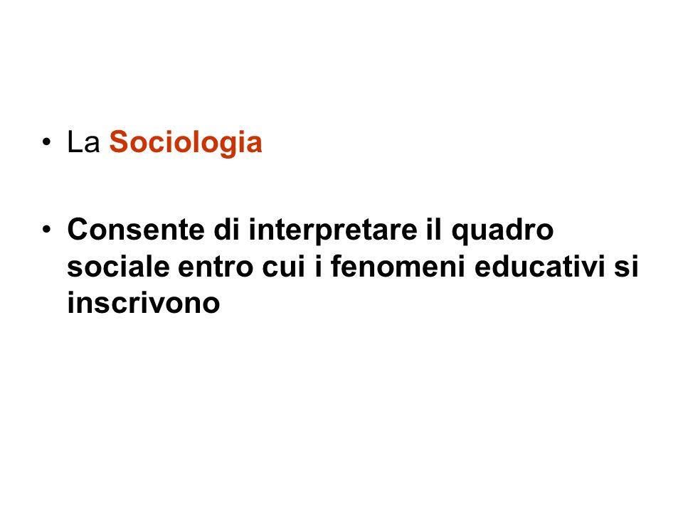 La Sociologia Consente di interpretare il quadro sociale entro cui i fenomeni educativi si inscrivono.