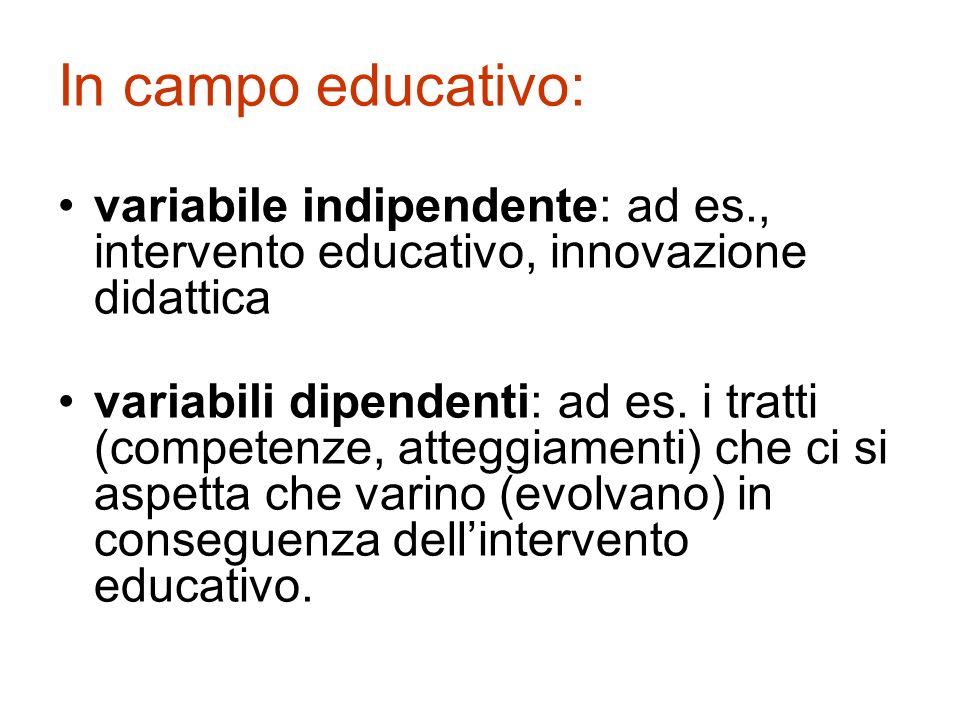 In campo educativo: variabile indipendente: ad es., intervento educativo, innovazione didattica