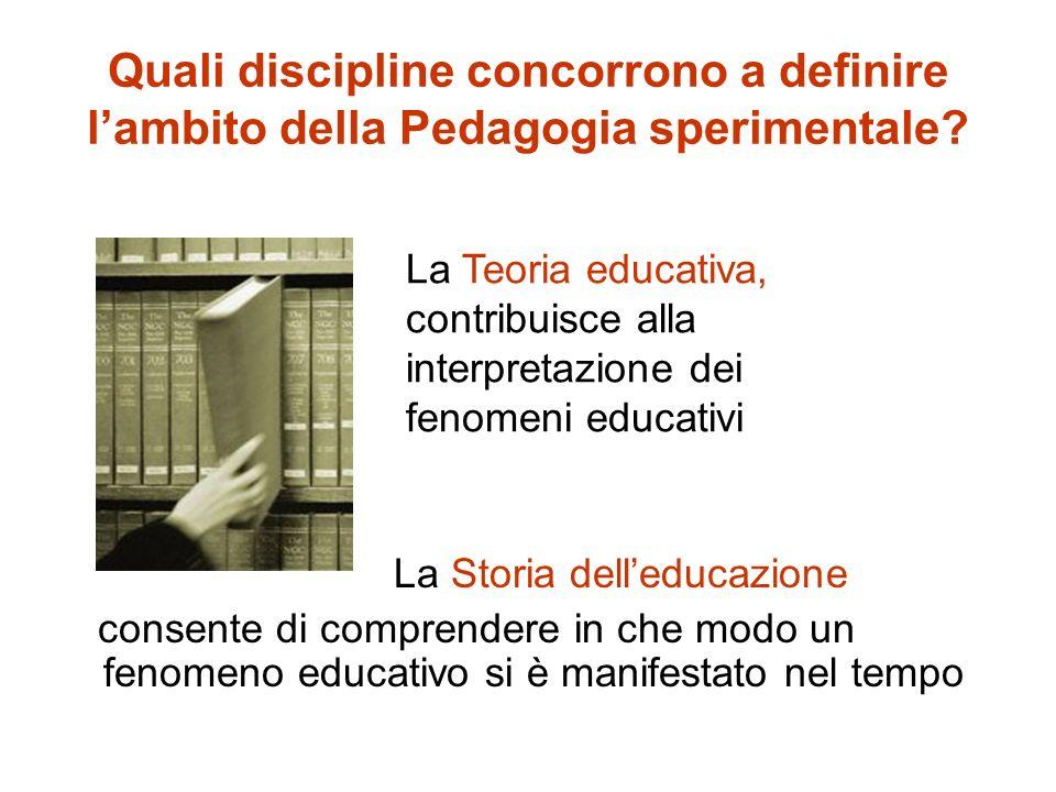 Quali discipline concorrono a definire l'ambito della Pedagogia sperimentale