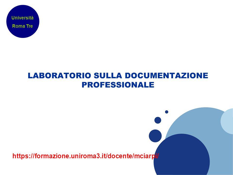 LABORATORIO SULLA DOCUMENTAZIONE PROFESSIONALE