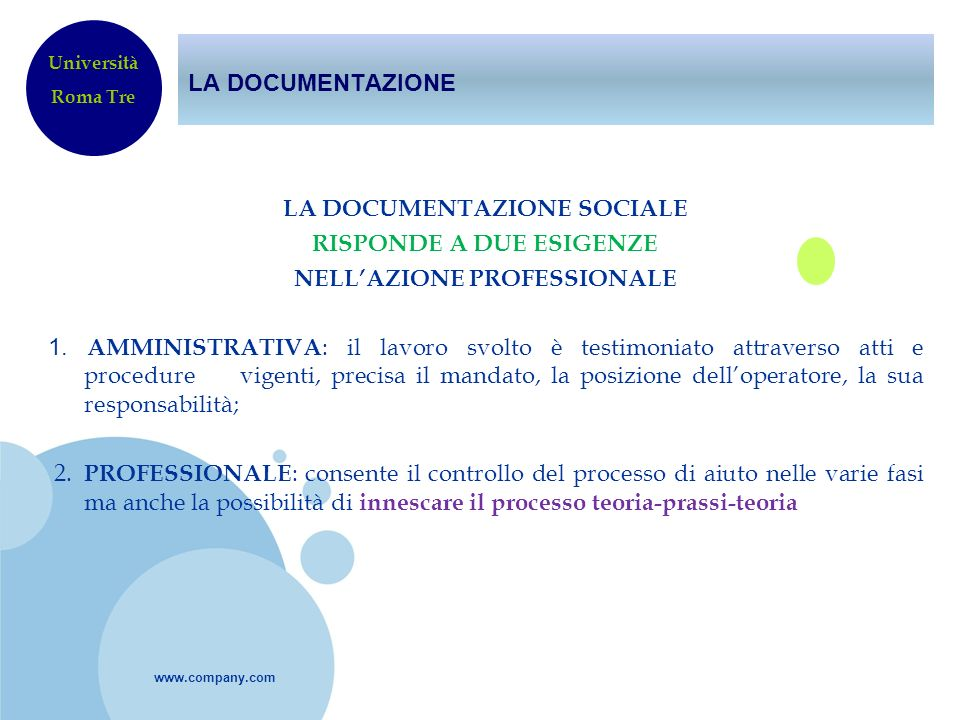 LA DOCUMENTAZIONE Università. Roma Tre.