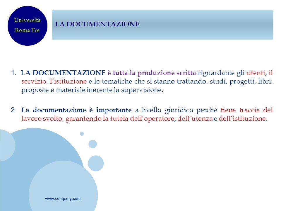 LA DOCUMENTAZIONEUniversità. Roma Tre.