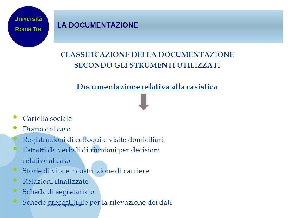 Documentazione relativa alla casistica