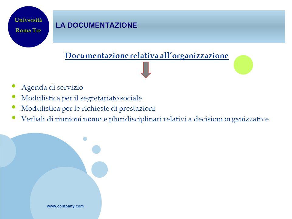 Documentazione relativa all'organizzazione