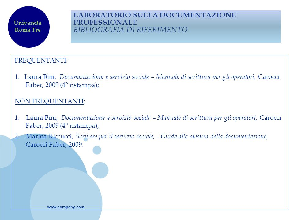 LABORATORIO SULLA DOCUMENTAZIONE PROFESSIONALE BIBLIOGRAFIA DI RIFERIMENTO