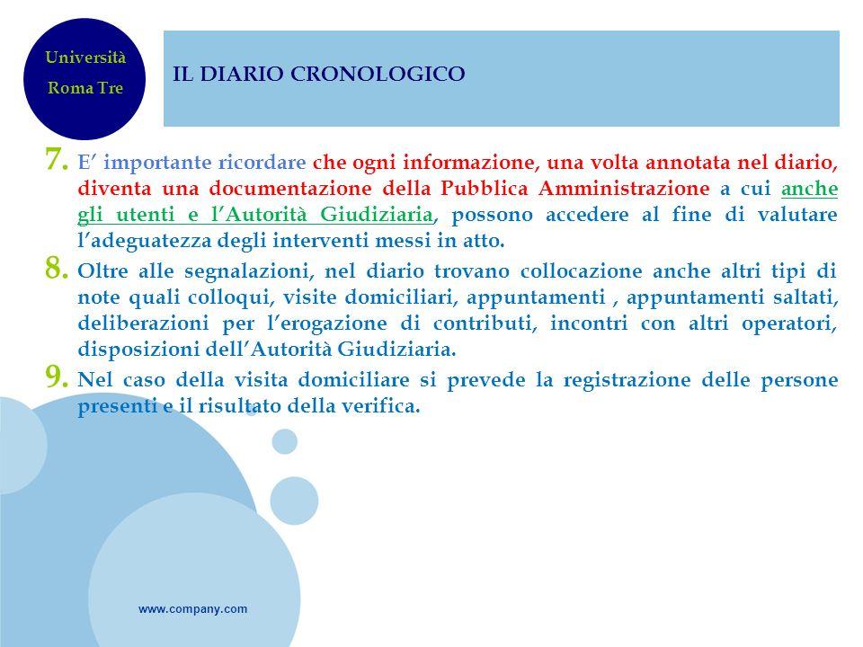 IL DIARIO CRONOLOGICO Università. Roma Tre.