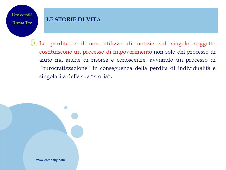 LE STORIE DI VITA Università. Roma Tre.