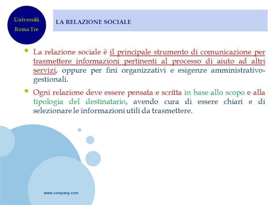 LA RELAZIONE SOCIALE Università. Roma Tre.
