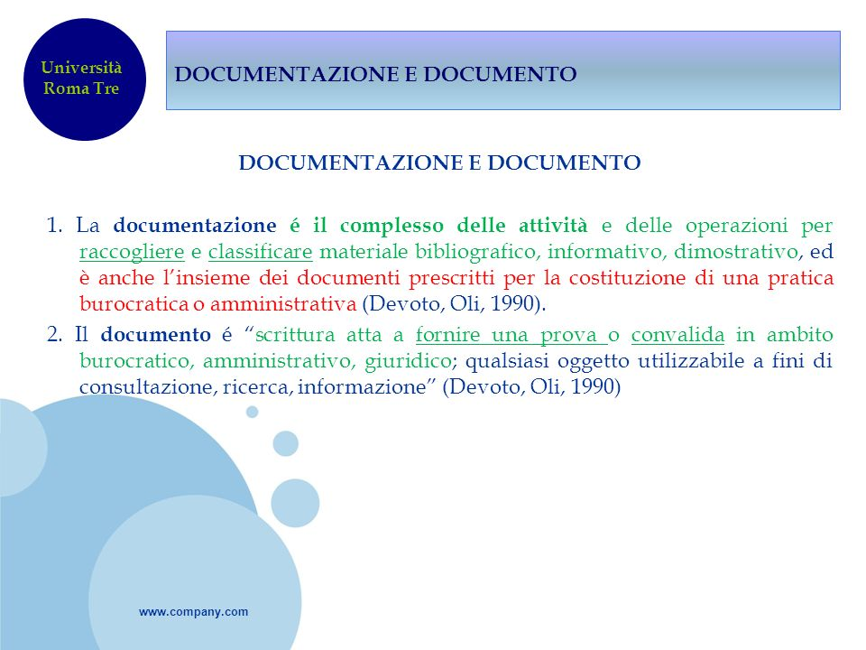 DOCUMENTAZIONE E DOCUMENTO