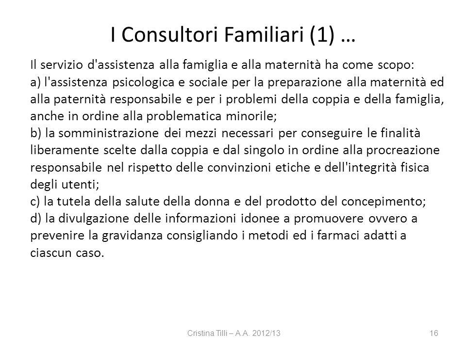 I Consultori Familiari (1) …