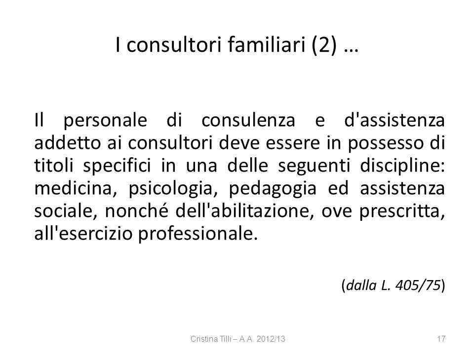 I consultori familiari (2) …