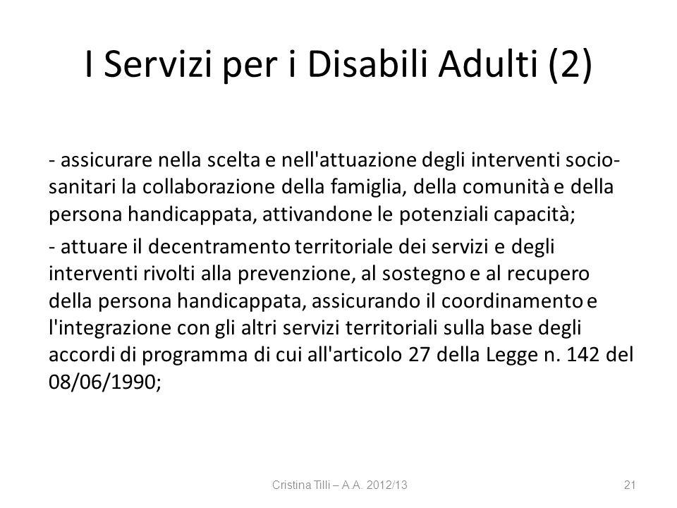 I Servizi per i Disabili Adulti (2)