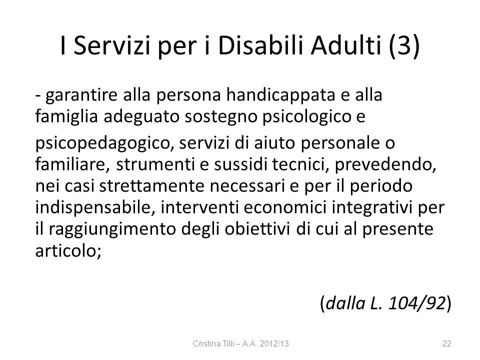 I Servizi per i Disabili Adulti (3)