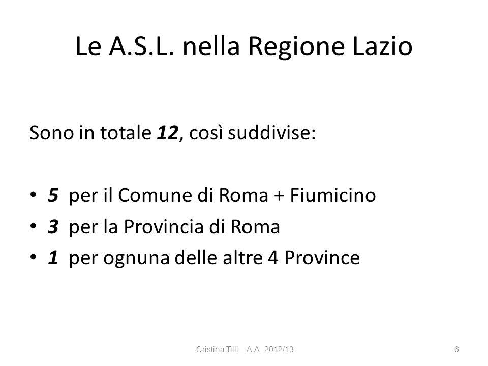 Le A.S.L. nella Regione Lazio