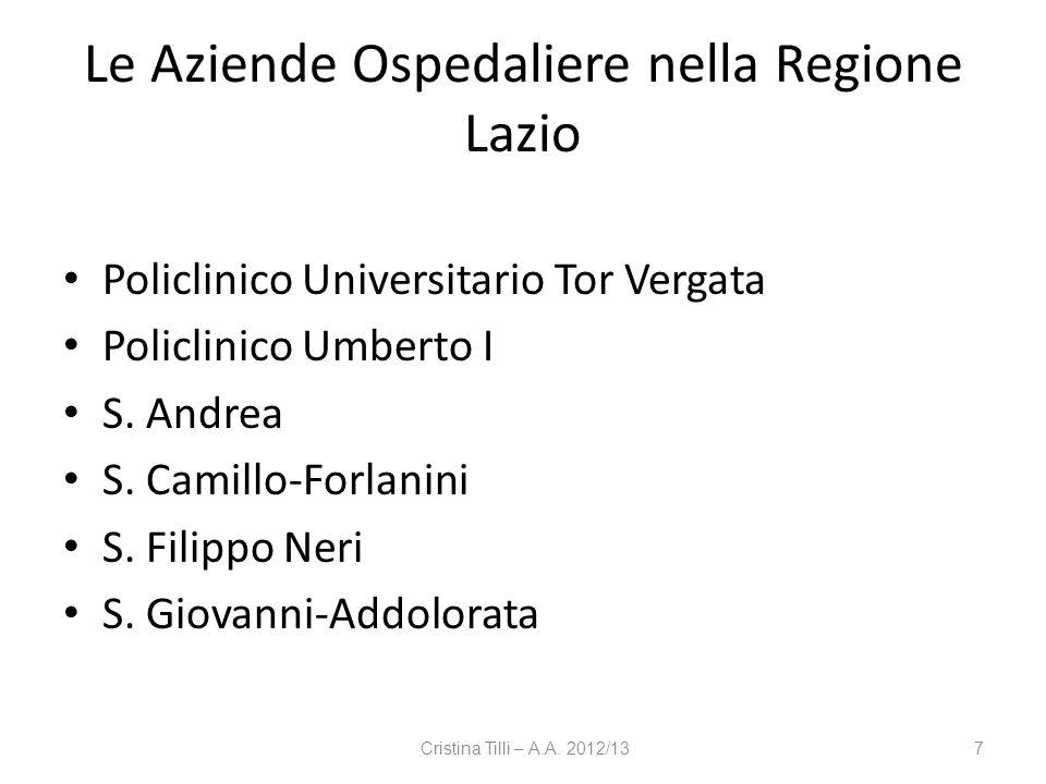 Le Aziende Ospedaliere nella Regione Lazio