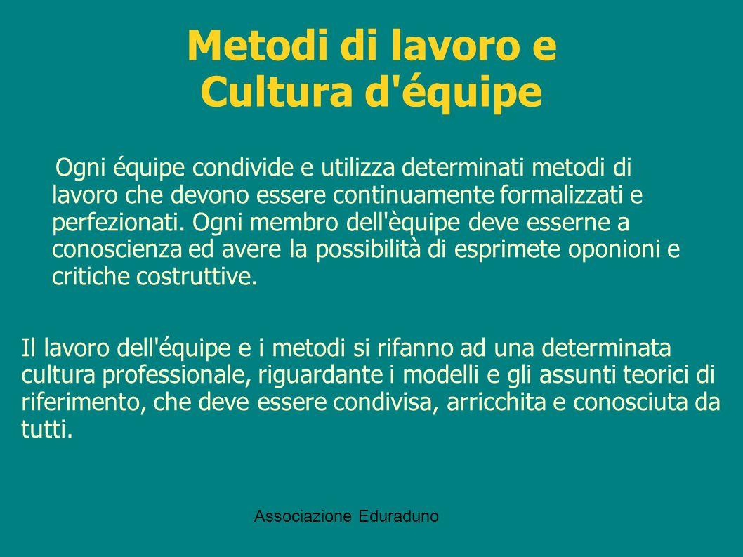 Metodi di lavoro e Cultura d équipe