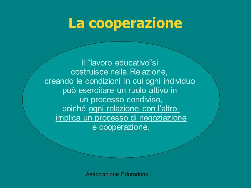La cooperazione Il lavoro educativo si costruisce nella Relazione,