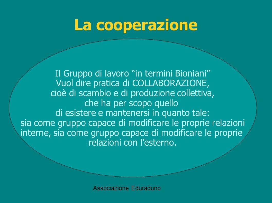 La cooperazione Il Gruppo di lavoro in termini Bioniani