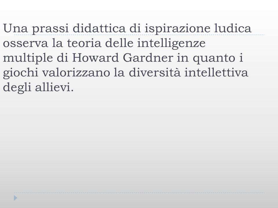 Una prassi didattica di ispirazione ludica osserva la teoria delle intelligenze multiple di Howard Gardner in quanto i giochi valorizzano la diversità intellettiva degli allievi.