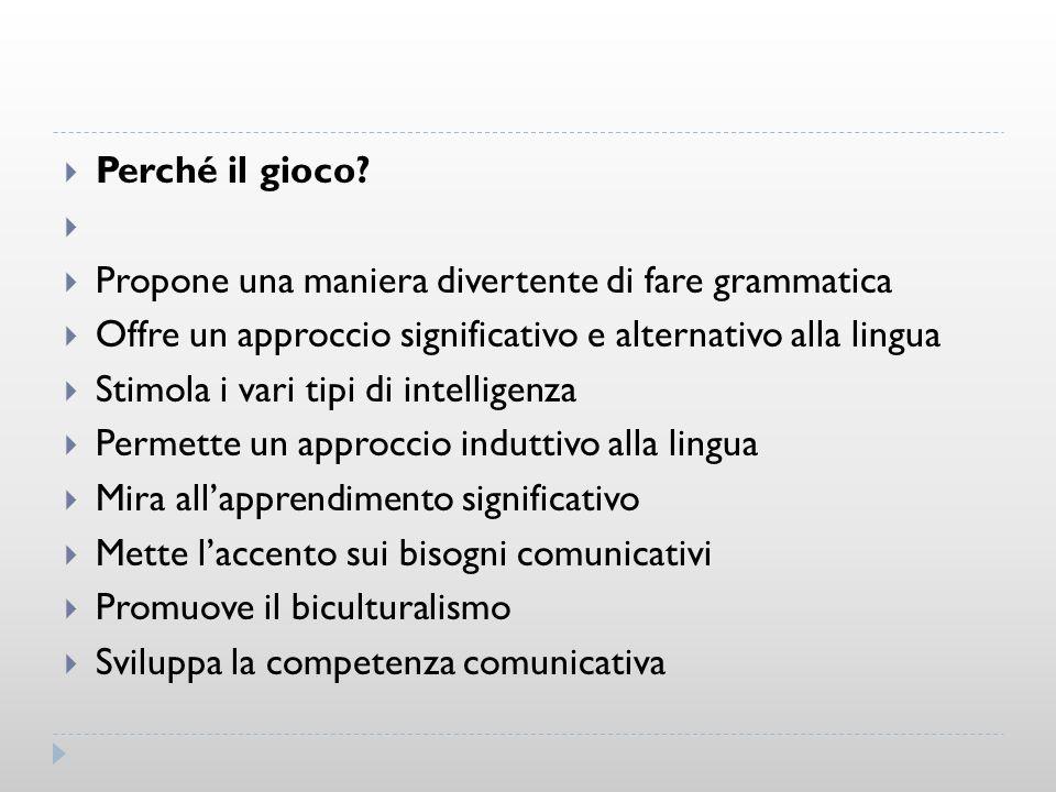 Perché il gioco Propone una maniera divertente di fare grammatica. Offre un approccio significativo e alternativo alla lingua.