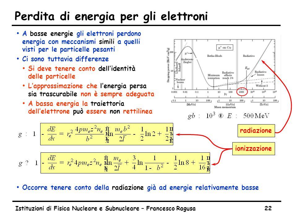 Perdita di energia per radiazione (elettroni)