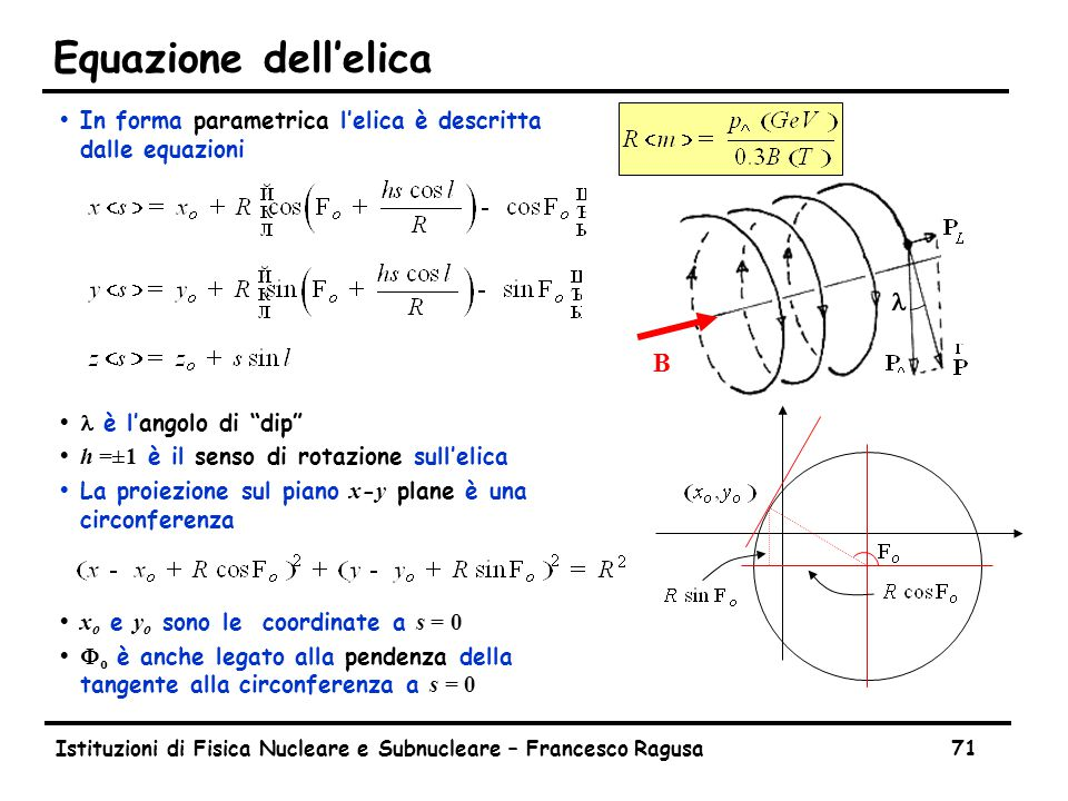 Equazione dell'elica Per ricostruire la traiettoria si posizionano piani di misura lungo il percorso della particella.