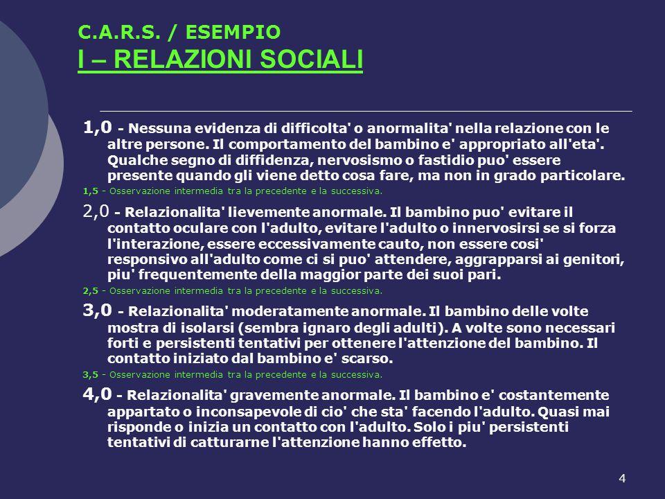 C.A.R.S. / ESEMPIO I – RELAZIONI SOCIALI