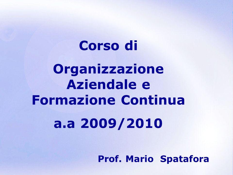 Organizzazione Aziendale e Formazione Continua