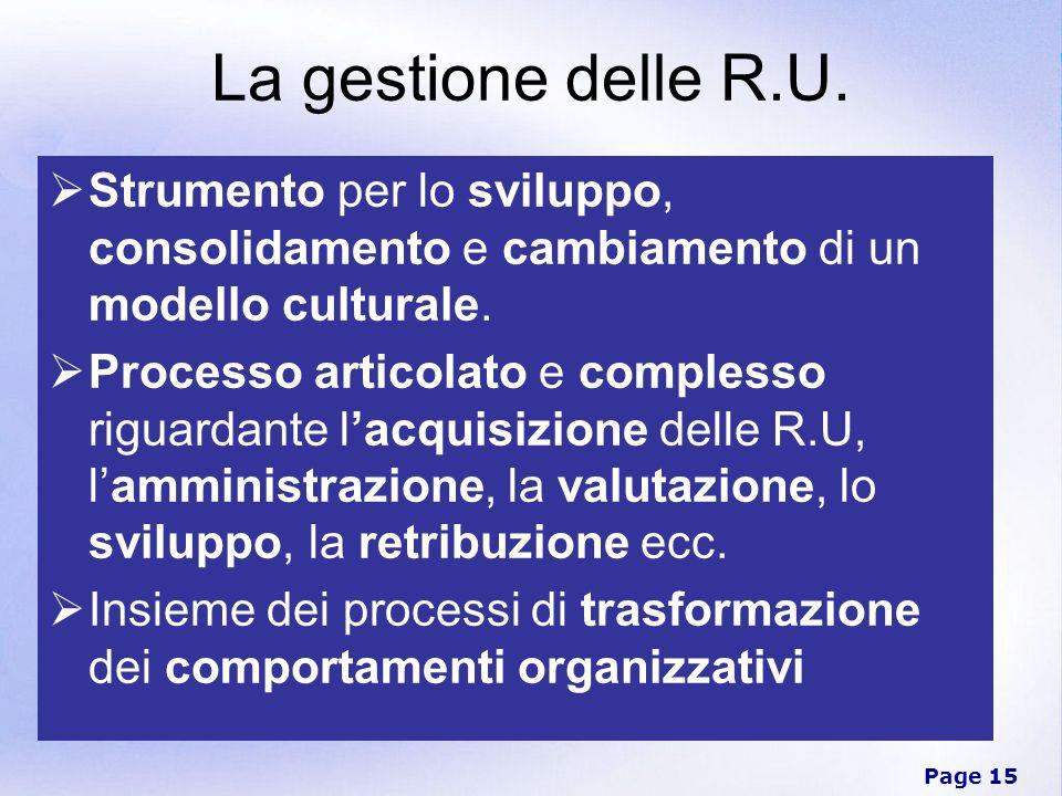La gestione delle R.U. Strumento per lo sviluppo, consolidamento e cambiamento di un modello culturale.