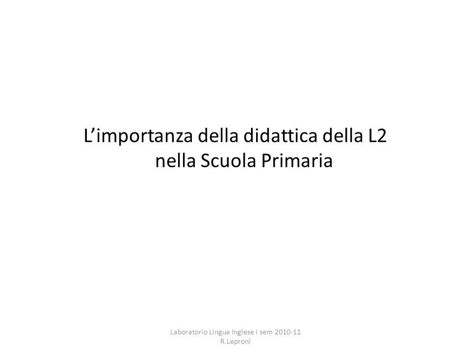 L'importanza della didattica della L2 nella Scuola Primaria
