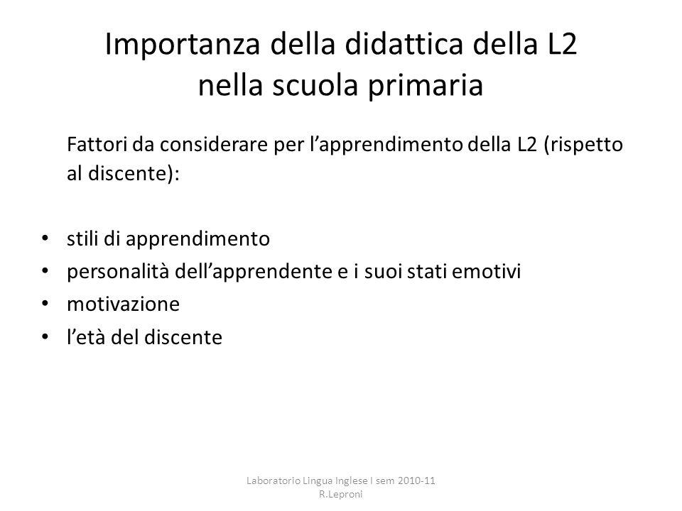 Importanza della didattica della L2 nella scuola primaria
